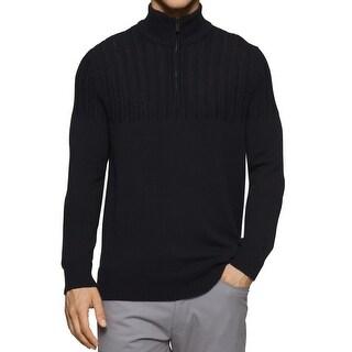 Calvin Klein NEW Black Mens Size Large L 1/2 Zip Textured Knit Sweater