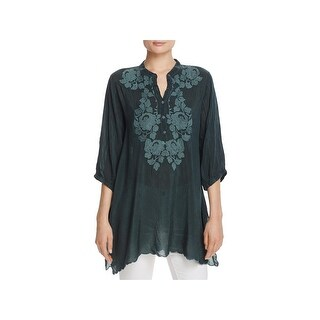 Johnny Was Womens Minna Tunic Top Floral Scalloped