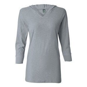 Women's Three-Quarter Sleeve Hooded Slub Tee - Cement - XL