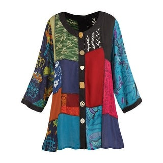 Women's Open Front Tunic Top - Novelty Button Patchwork Fashion Jacket