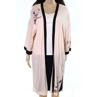 Wild Pearl NEW Pink Floral Embroidered Women's XXS Kimono Open Front Jacket
