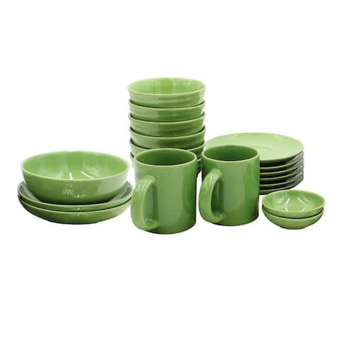 Zahora Twisted 19 Piece Dinnerware Set, Dark Green