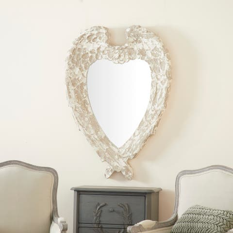 Oversized Vintage Style Heart Shaped Wall Mirror w Distressed Finish - 32 x 4 x 44