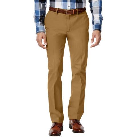 Club Room Mens Flat Front Casual Chino Pants, beige, 34W x 34L