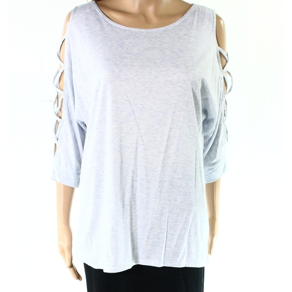Moa Moa Blue Womens Size Medium M Heathered Lattice Sleeve Knit Top