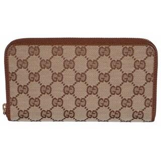"""Gucci 363423 Women's Beige Brown GG Guccissima Zip Around Wallet Clutch - 7.75"""" x 4"""" x 1"""""""