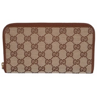 "Gucci 363423 Women's Beige Brown GG Guccissima Zip Around Wallet Clutch - 7.75"" x 4"" x 1"""