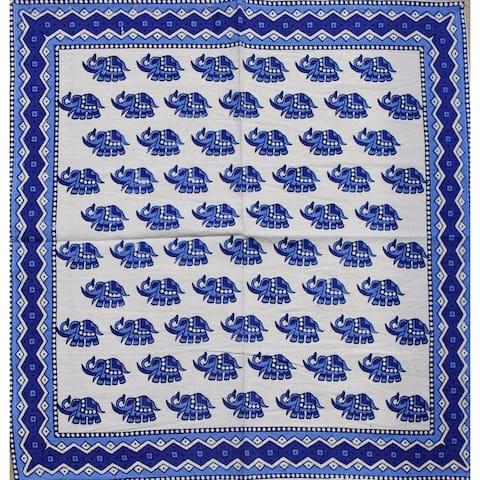Block Print Cotton Dinner Napkins Thanksgiving Napkins Paisley Floral Elephant 19 x 19 inches