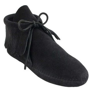 Minnetonka Women's Classic Fringed Boot Softsole Black