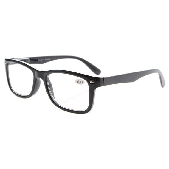 Eyekepper Readers Spring-Hinges Quality Classic Vintage Style Reading Glasses Black +0.75