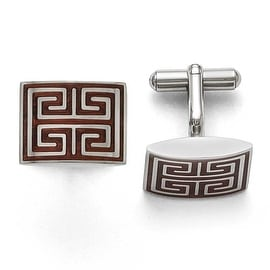 Chisel Stainless Steel Polished Wood Inlay Cuff Links