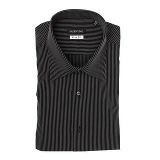 Valentino Men Slim Fit Cotton Dress Shirt Pinstripe Black White