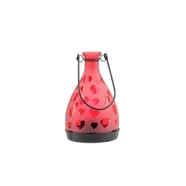 "6.25"" Frosted Red Hearts Glass Bottle Tea Light Candle Lantern Decoration"