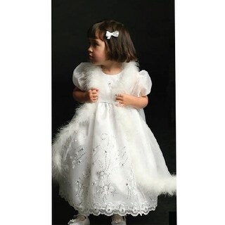 Angels Garment White Organza Special Baptismal Girl Dress Size 3M-5