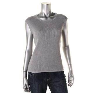 Calvin Klein Womens Ribbed Metallic Sweater Vest