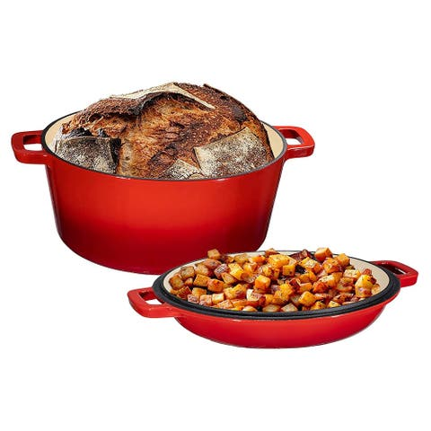 2 in 1 Enameled Cast Iron Double Dutch Oven & Skillet Lid