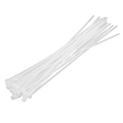23pcs 5 x 250mm White Plastic Nylon Fastener Cable Tie Strap Ribbon for Car