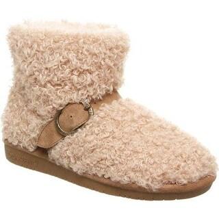 Bearpaw Women's Treasure Bootie Slipper Taupe Faux Fur