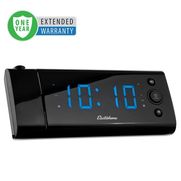 Electrohome USB Charging LED Alarm Clock Radio with Time Projection & Battery Backup - 1 Year Extended Warranty