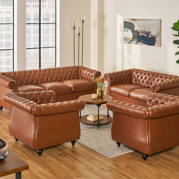 Silverdale Traditional Chesterfield 4 Piece Living Room Set by Christopher Knight Home. Opens flyout.
