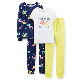 Carter's Little Girls' 4 Piece PJ Set (Toddler/Kid) - Too Cool - 5