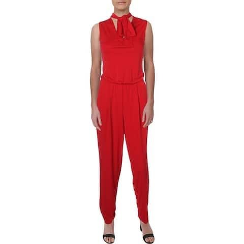 Lauren Ralph Lauren Womens Simran Jumpsuit Choker Cut Out - Red