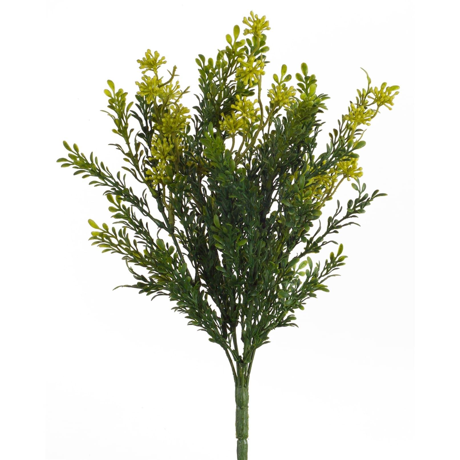 Christmas Bush Tea.Set Of 24 Green And Yellow Artificial Mini Tea Leaf Bush Christmas Decor 12 N A