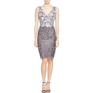Adrianna Papell Womens Petites Cocktail Dress Lace Colorblock
