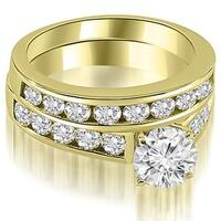 3.10 cttw. 14K Yellow Gold Cathedral Channel Set Round Cut Diamond Bridal Set