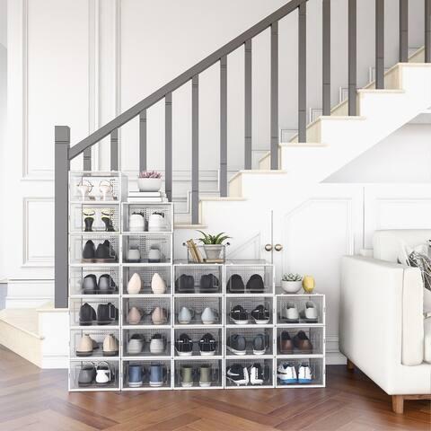 "24 Pack Plastic Foldable Shoe Box, Stackable Clear Shoe Organizer (Medium/ White) - 9"" W x 13"" D x 5.5"" H"