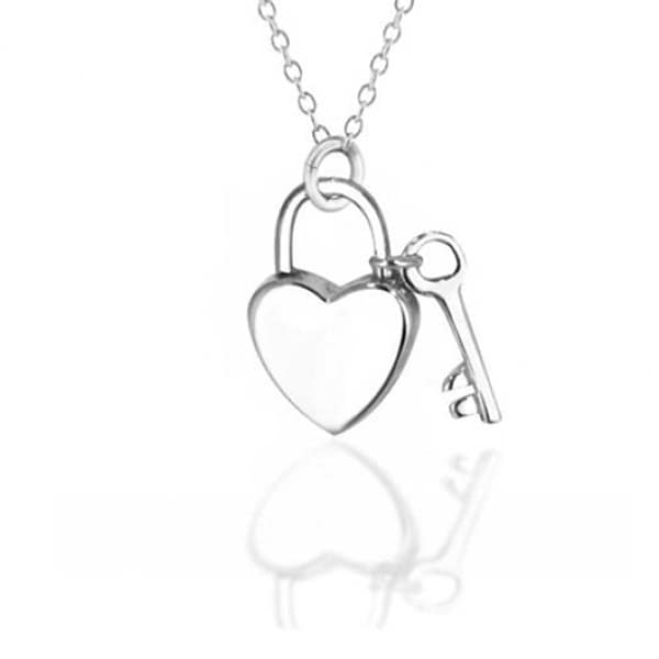 43d950b52239 Love Lock And Key Heart Shape 2 Small Charm Pendant For Women Polished 925  Sterling Silver