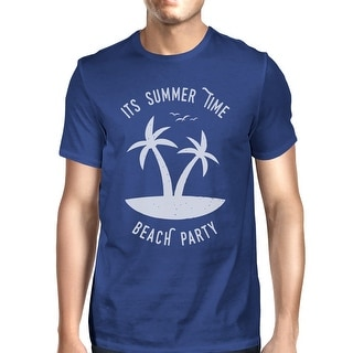 It's Summer Time Beach Party Mens Blue Round Neck Cotton T-Shirt