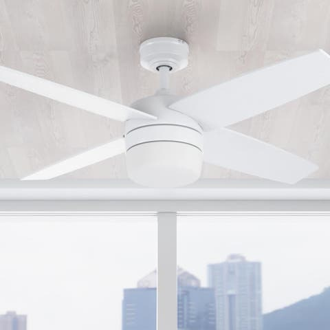 """44"""" Prominence Home Atlas Indoor Modern Ceiling Fan with Remote, Bright White"""