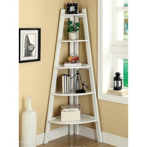 Furniture of America Kiki 5-tier Corner Ladder Display Bookcase..