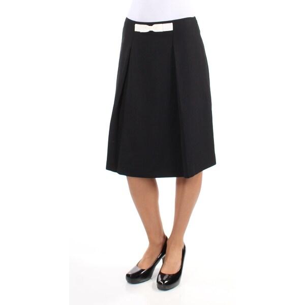 TAHARI Womens Black Pleated Below The Knee A-Line Wear To Work Skirt Size: 2