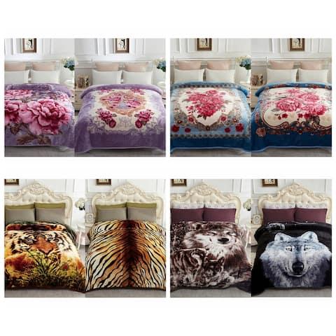 Reversible Mink Blanket Fluffy Fleece Blanket Different Pattern in Each Side