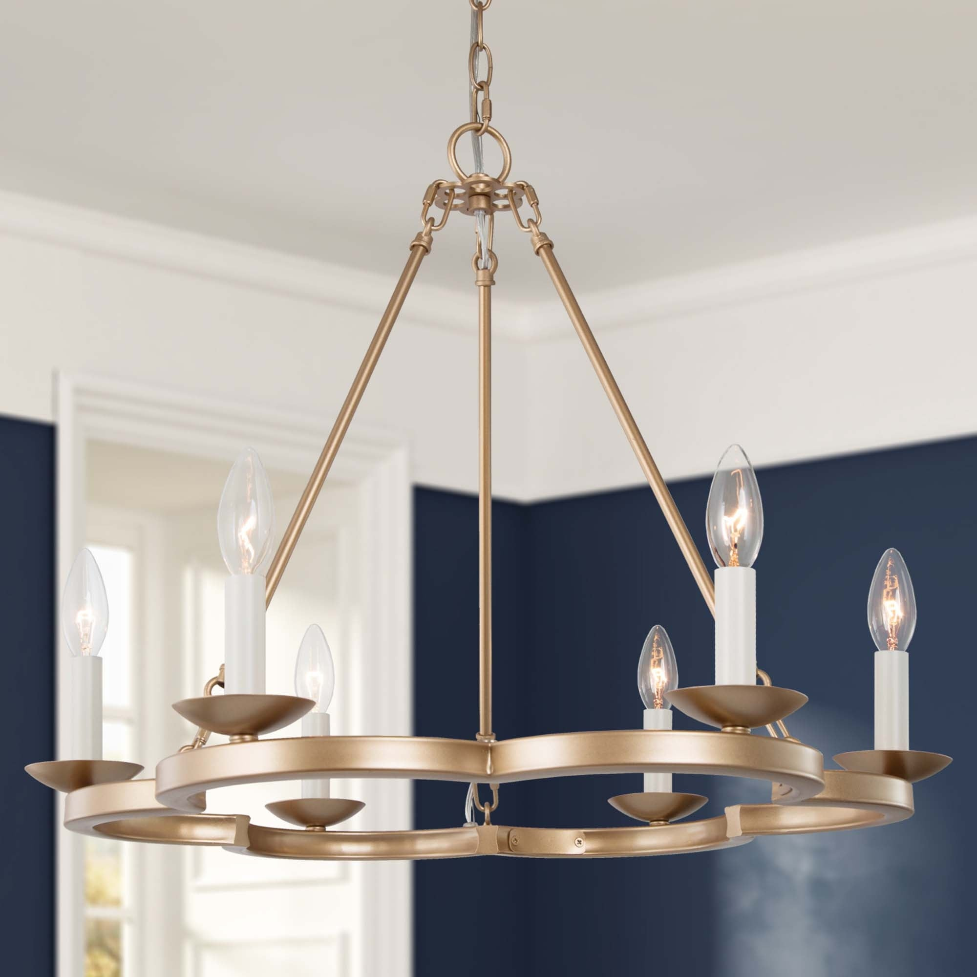Mid Century 23 6 Inch 6 Light Gold Wagon Wheel Chandelier Candle Lighting For Dining Room Overstock 31946005