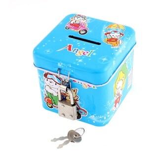 Cartoon Print Metal Square Coin Money Saving Piggy Bank Box Case Blue w Lock