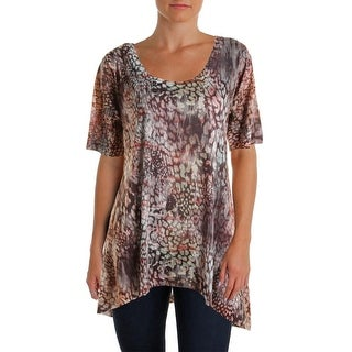 Nally & Millie Womens Printed Hi-Low Casual Top