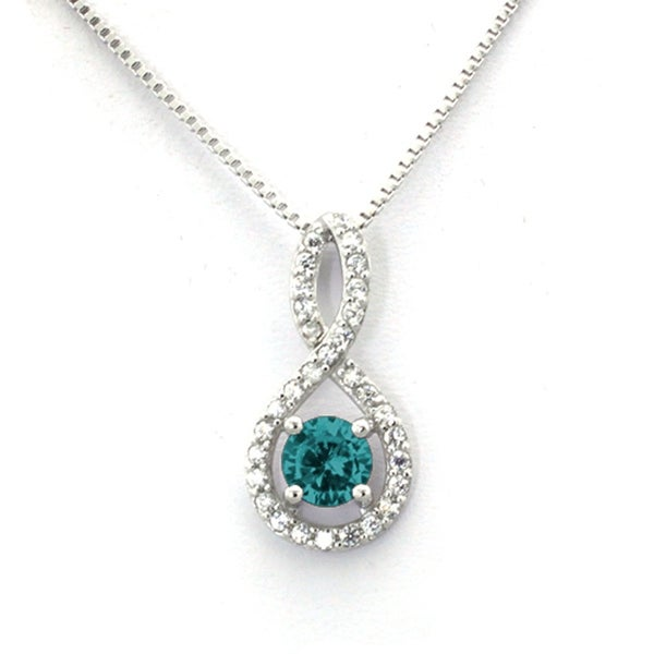 Sterling Silver Figure 8 Blue Zircon CZ Color Center (December Birth) Stone Pendant - 18 inches