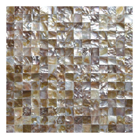 """Art3d 12""""x12"""" Mother of Pearl Tile Square Colorful Brown Seamless"""