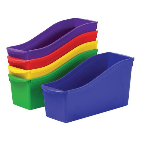 "Interlocking Book Bins, 4.75"" x 12.63"" x 7"", Assorted Colors, 5/Pack - Clear"