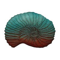 Gradient Green & Red Nautilus Shell Design Decorative Glass Dish