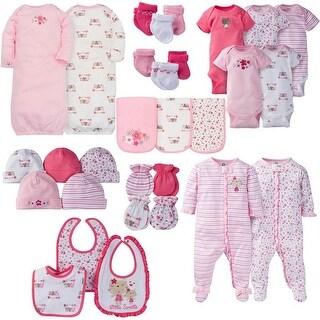 Gerber Baby Girl 30 Piece Essentials Gift Set, Lil' Flowers - Pink