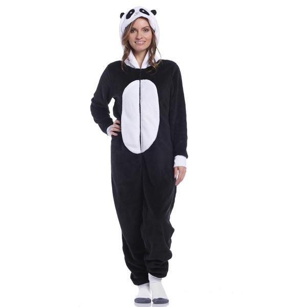 e59300de9 Shop Rene Rofe Women's Hush Plush Panda One-Piece Hooded PJ Sleeper ...