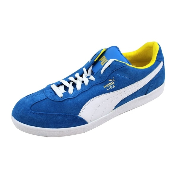 550c8c648607 Shop Puma Men s Liga Suede French Blue White-Vibrant Yellow 341466 ...