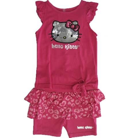 65db3f79f Hello Kitty Little Girls Fuchsia Flutter Sleeve Ruffle Sequin 2 Pc Shorts  Set 4-6X