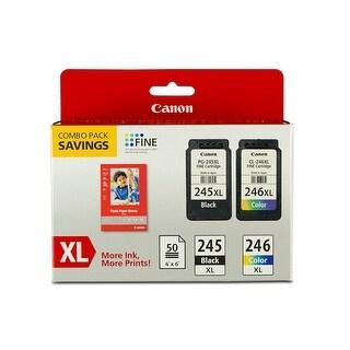 Canon PG-245XL/CL-246XL Combo Pack Ink Cartridge/Paper Kit - Black, Color - Inkjet - Black