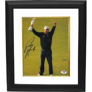 Padraig Harrington signed 8x10 Photo Custom Framed 2008 British Open w/Trophy (Royal Birkdale Golf Club)- PSA Hologram