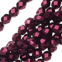 Czech Fire Polished Glass Beads 6mm Round Full Pearlized - Garnet (25)